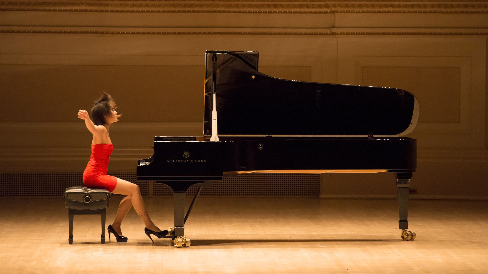 Yuja Wang performing on a Steinway grand piano